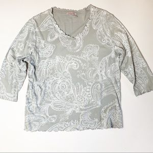 Fresh Produce Paisley Print top grey white XL